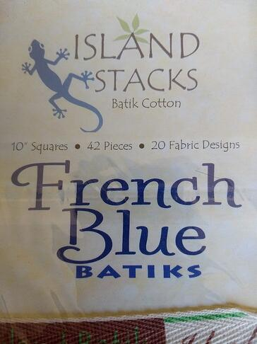 island batik 10 inch french blue fabric label