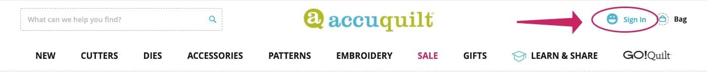 1 - AccuQuilt Website Tour - sign-in arrow