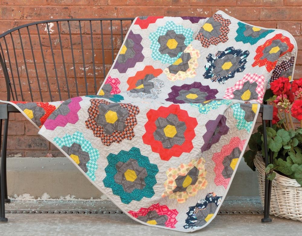 english paper piecing hexagon grandmother's garden quilt