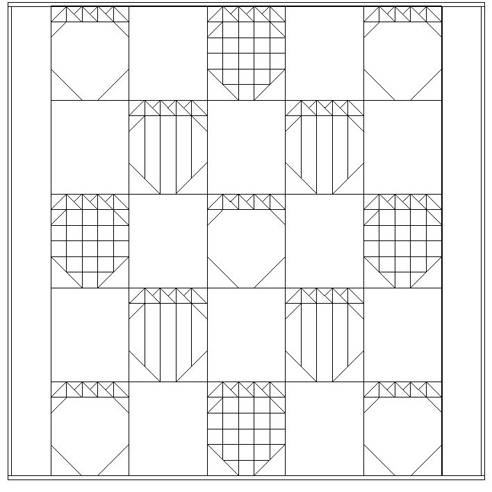 16-strawberry quilt outline