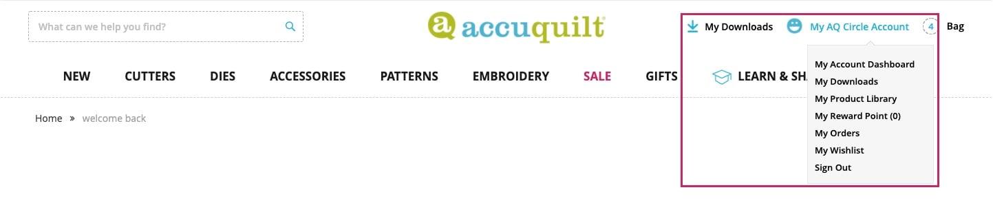 2 - AccuQuilt Website Tour - AQ dropdown highlighted