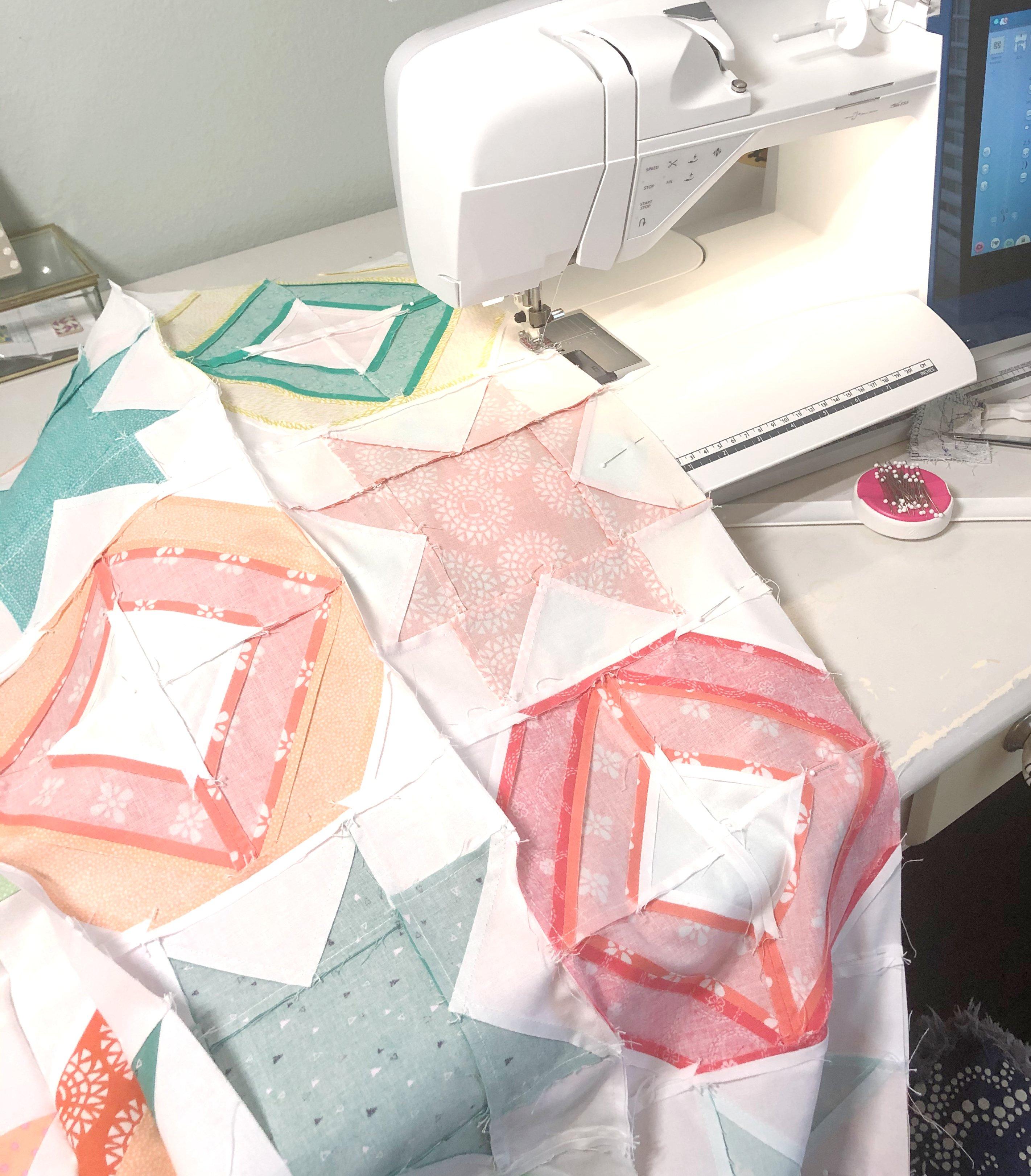 2 block quilt sewing seams