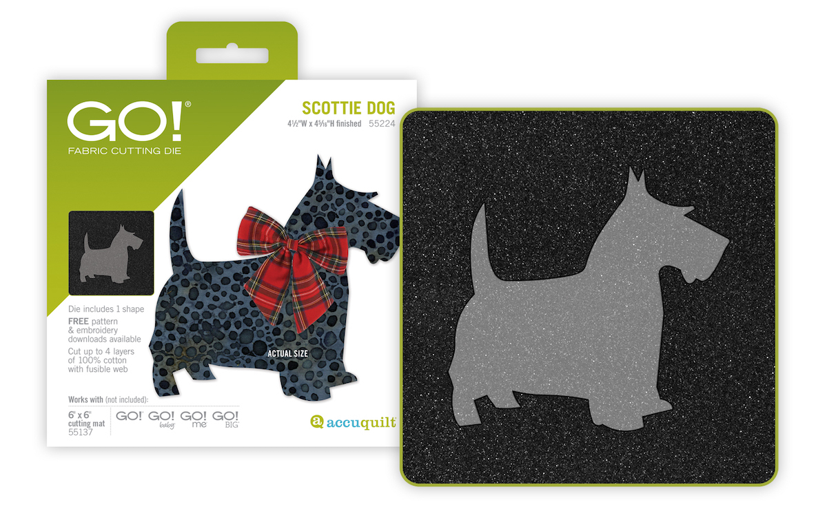 GO Scottie Dog applique AccuQuilt fabric cutting die with packaging