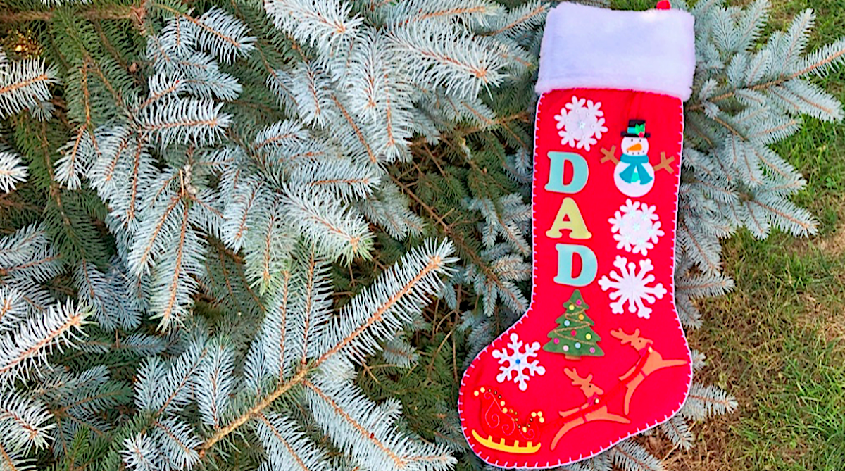handmade stocking with holiday accessories