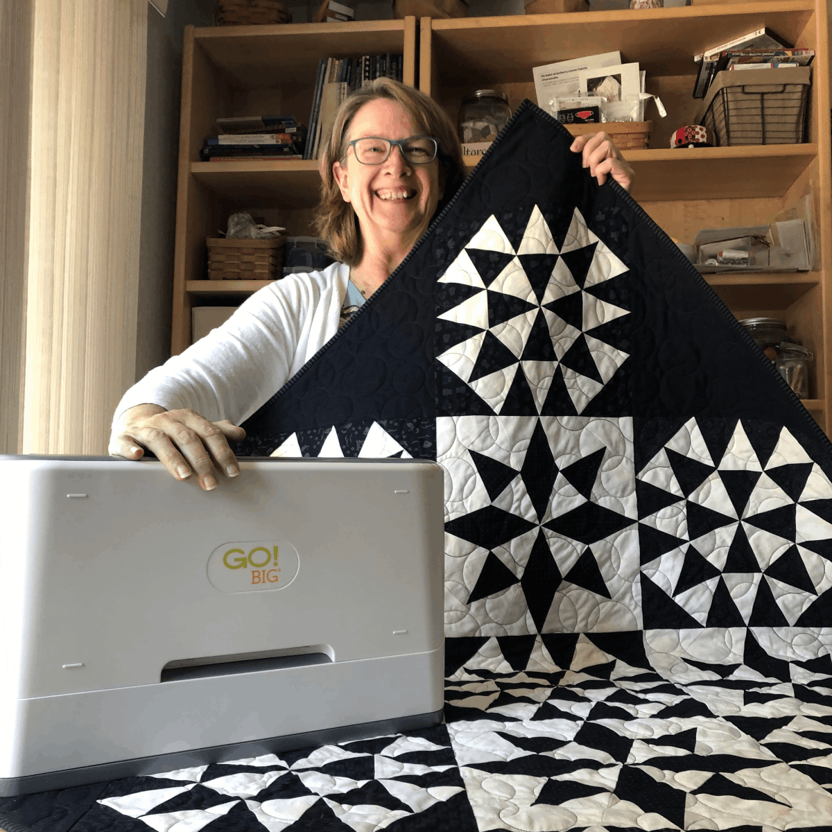 Feature Photo In Text Karen with her Quilt
