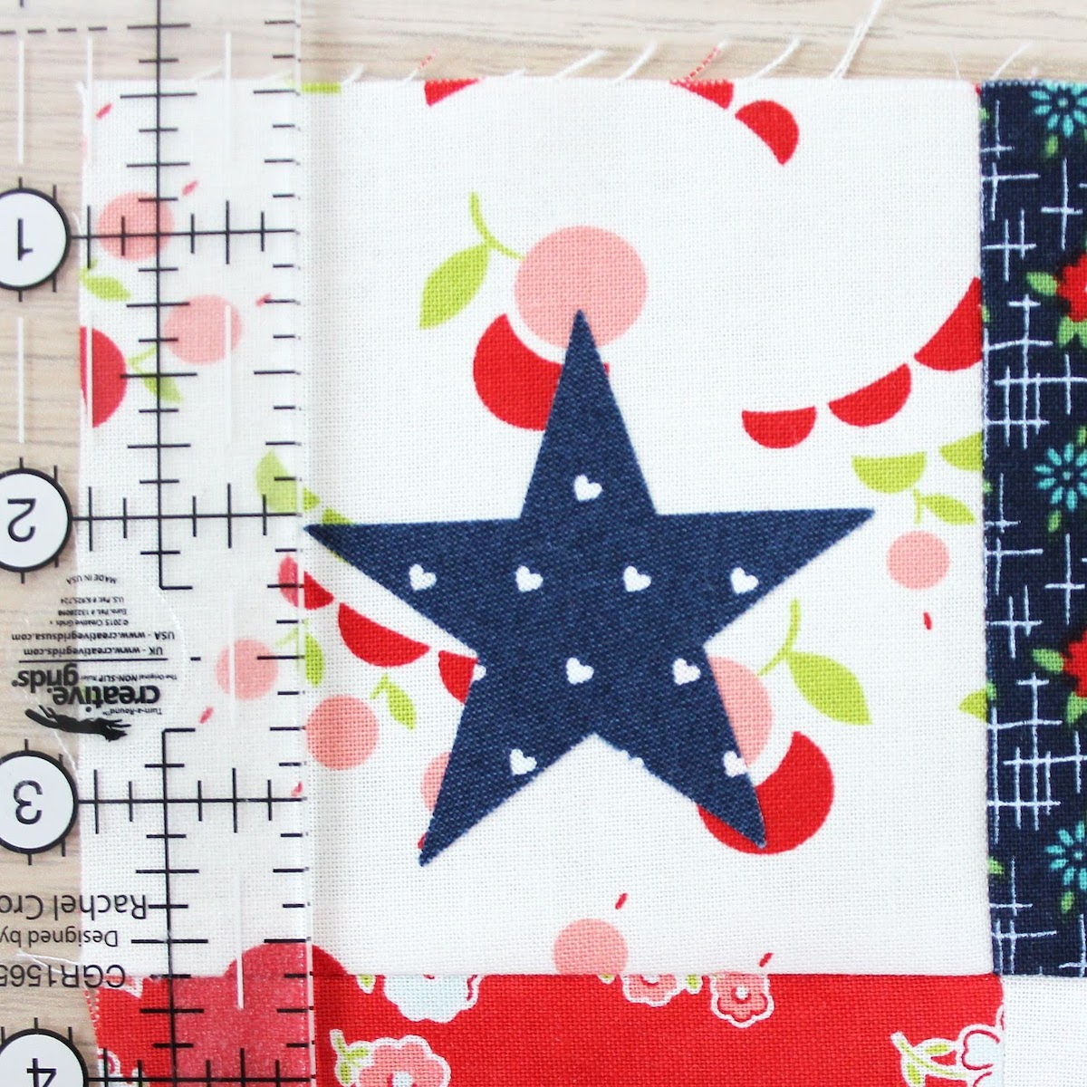 applique star on quilt block