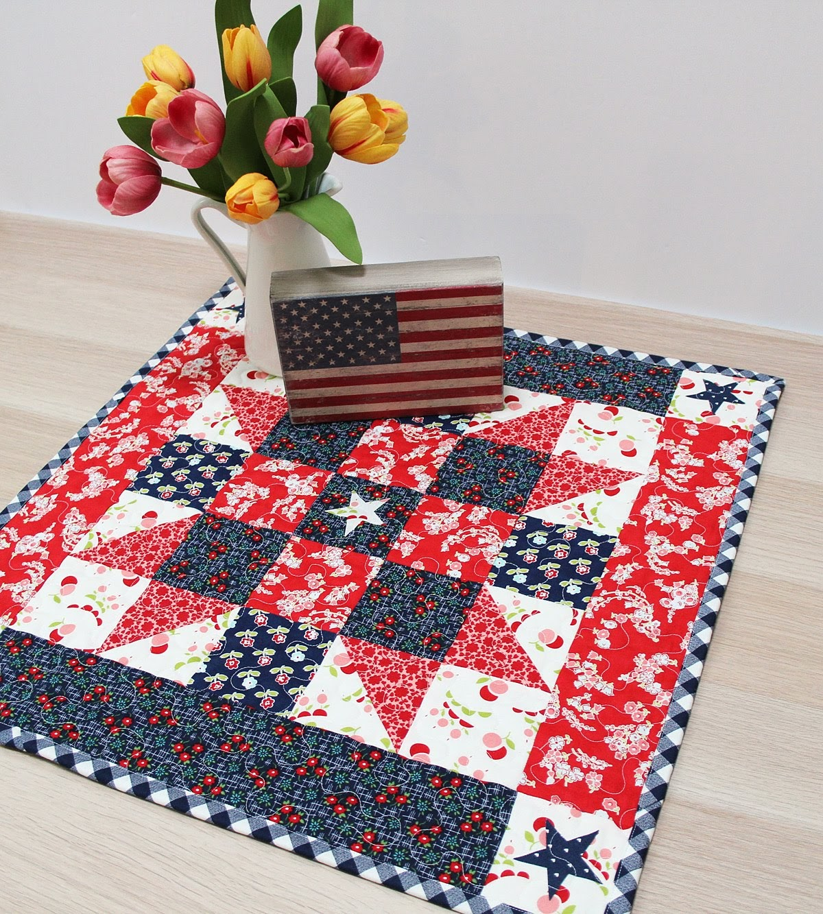 lifestyle mini quilt on table top