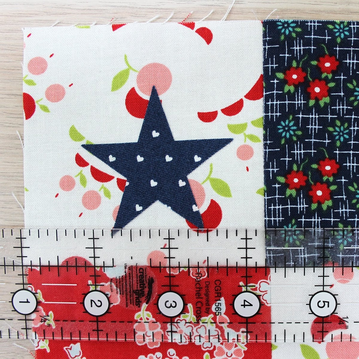 measuring quilt block applique star patriotic