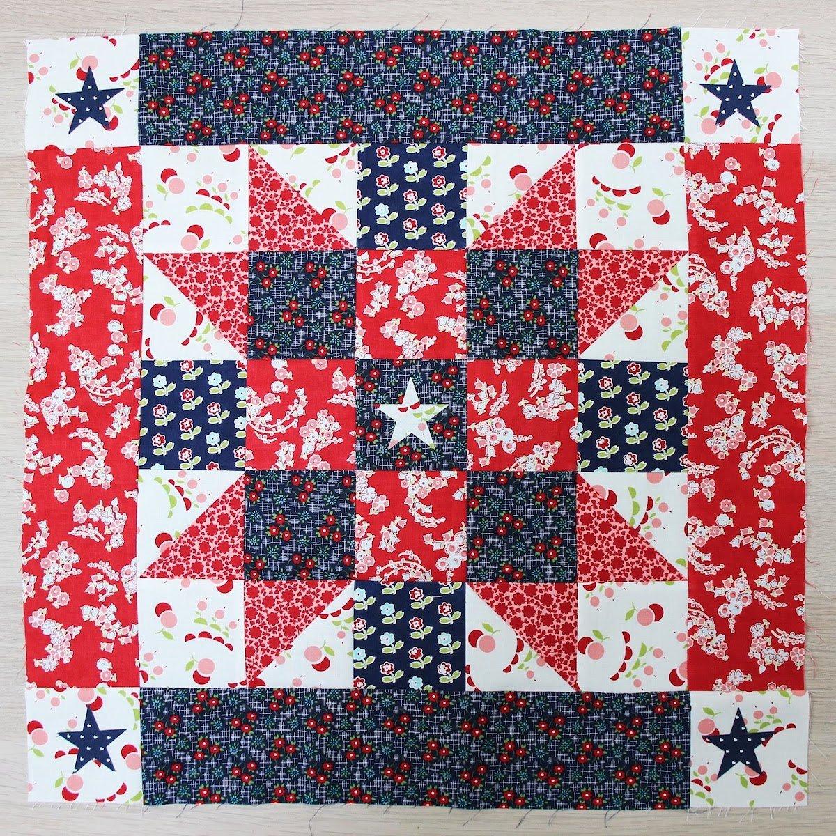 sewn patriotic quilt block