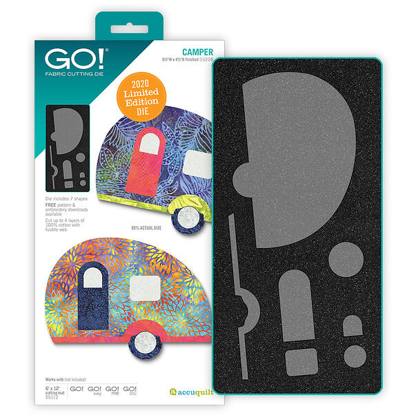 AccuQuilt GO Camper die with two tone foam next to packaging