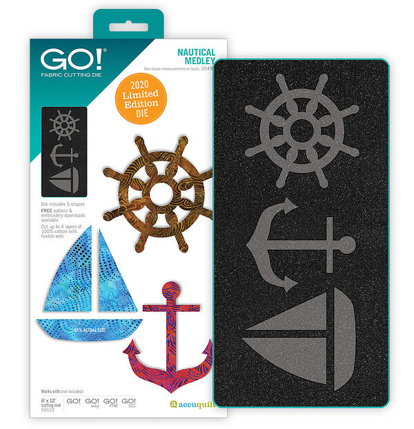 two tone foam and packaging of nautical applique shapes with sailboat, anchor and ship's wheel GO! die