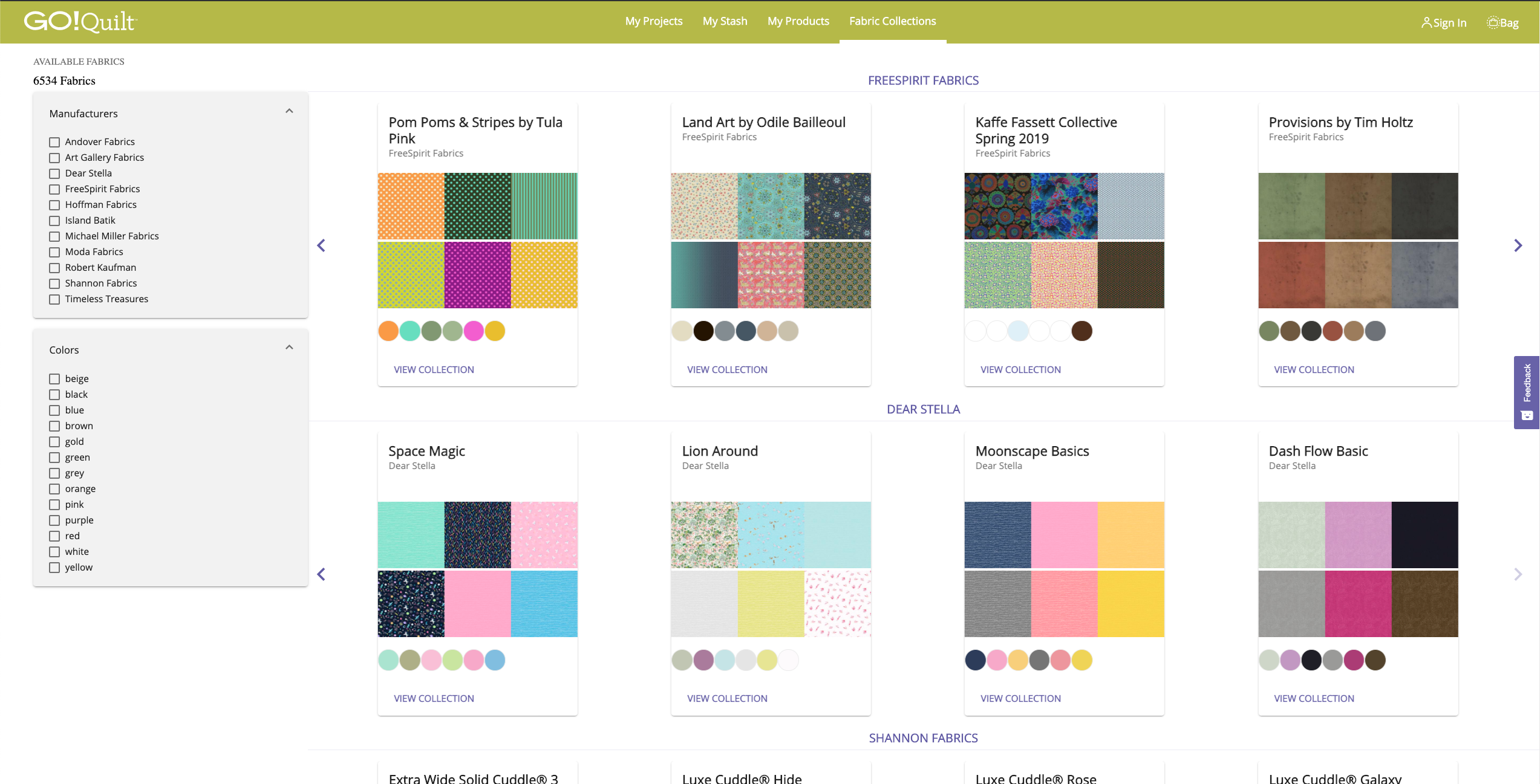 GO Quilt Fabric Collections screenshot for holiday gifting ideas