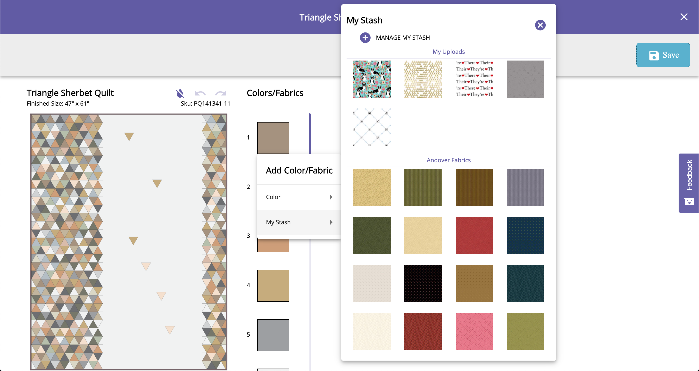 GO Quilt Pattern customizer with open digital fabric stash box screenshot