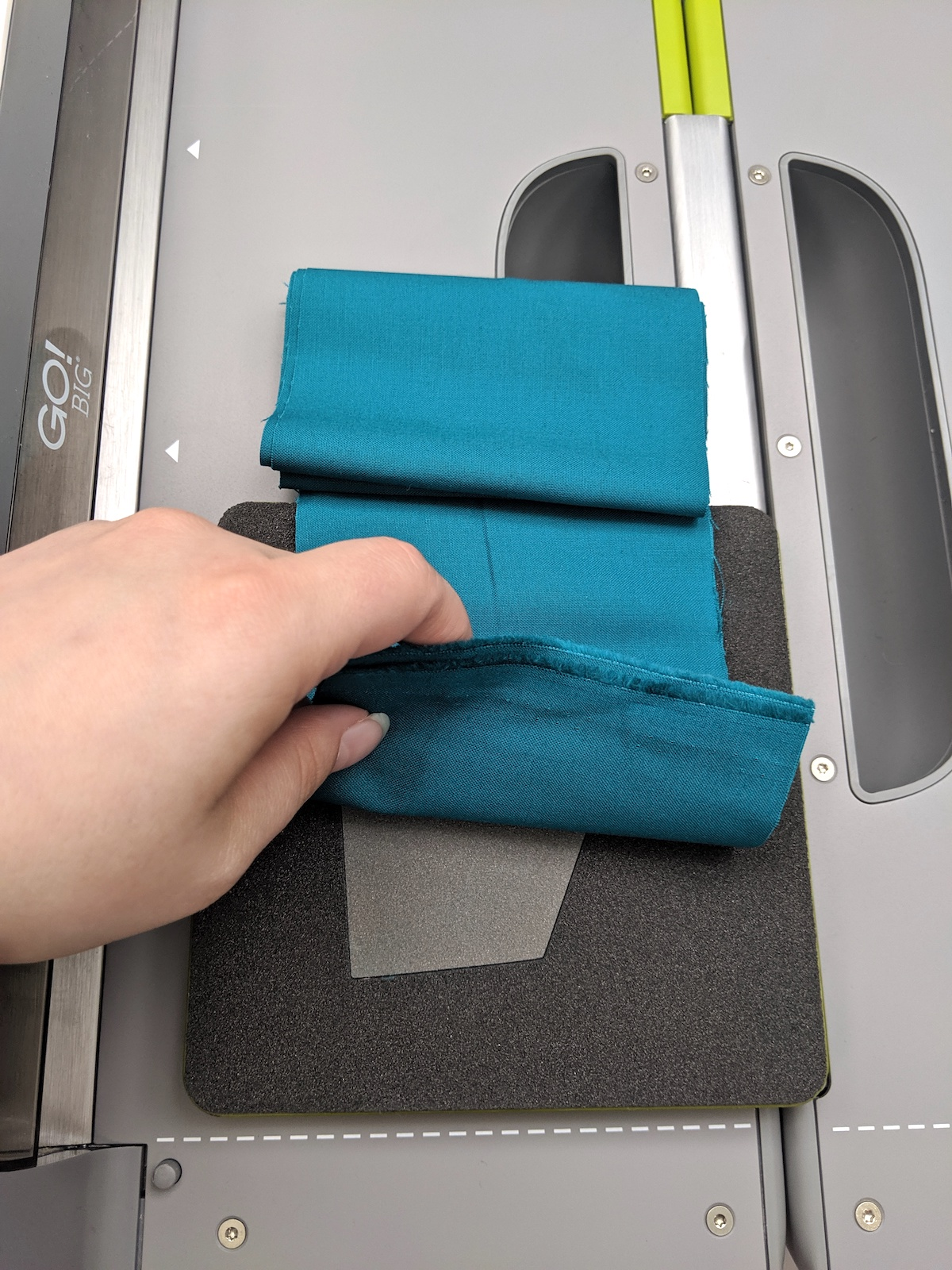 teal fabric accuquilt go big kite die