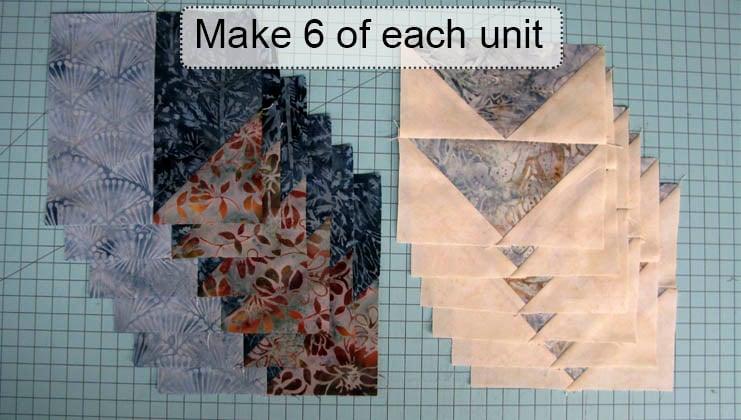 Make 6 of each unit for the table runner