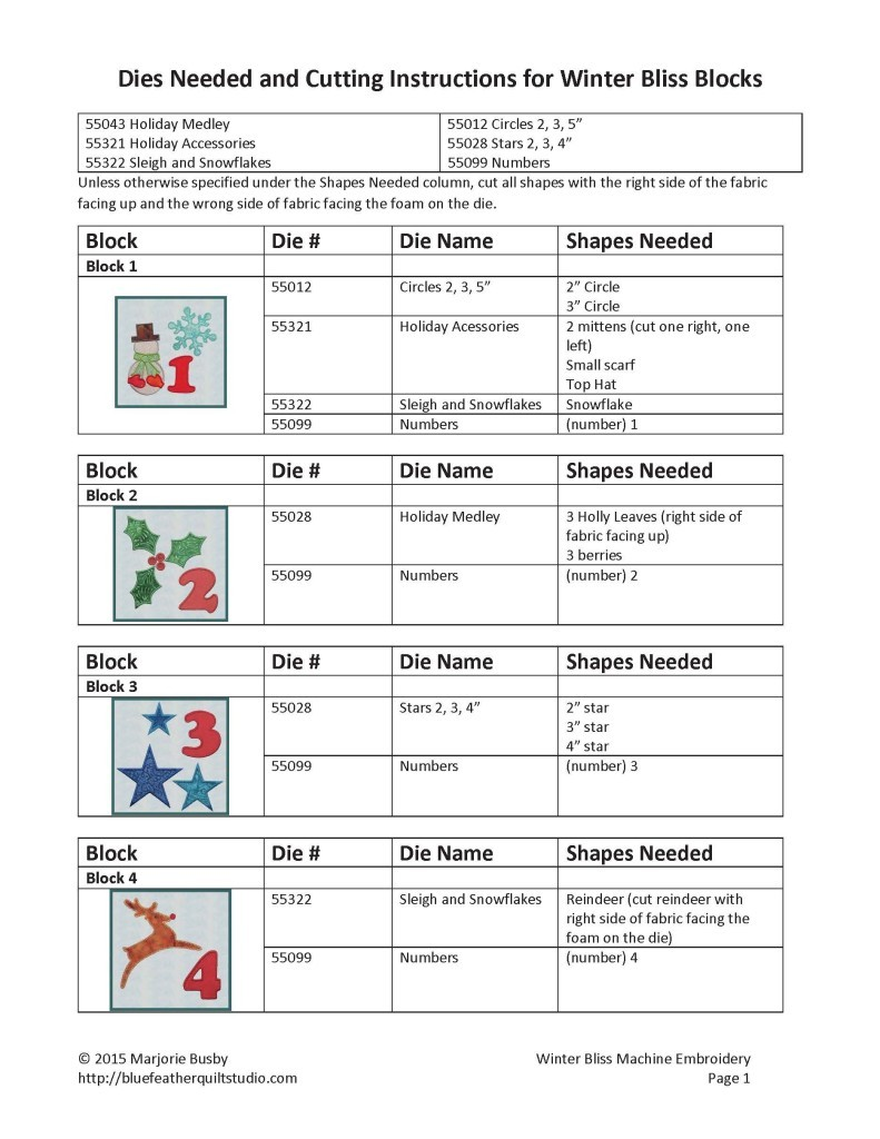 Block Cutting Instructions page 1