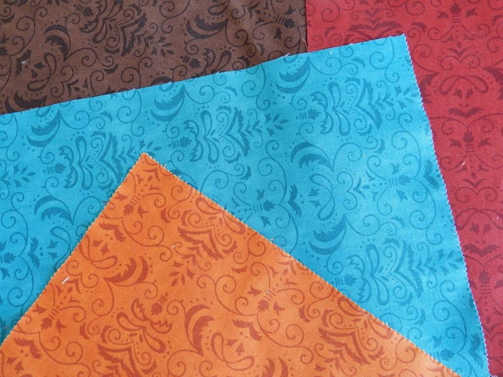 brown red blue orange demask fabrics