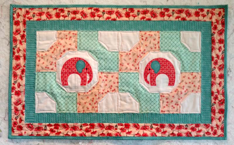 elephants and bowties table topper