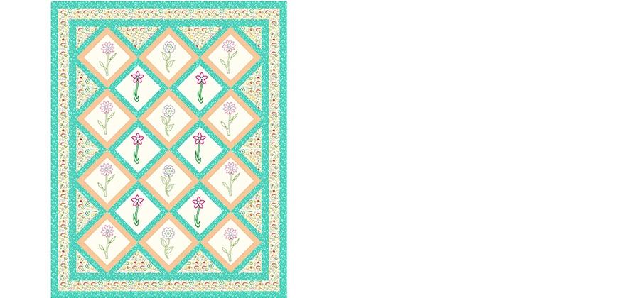"""Flower Garden Quilt 65 x 82"""""""