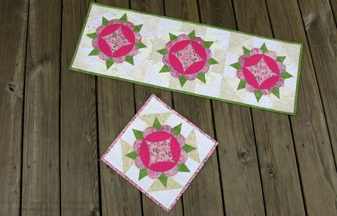 Harrison Rose Appliqued table runner fast and easy to make