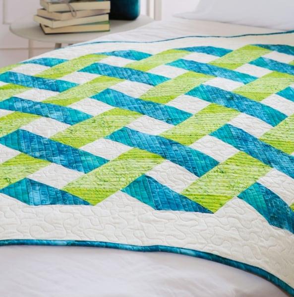 Green Blue Lattice Modern Quilt Pattern