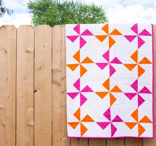 Pink Orange Pin Wheel Modern Quilt Pattern
