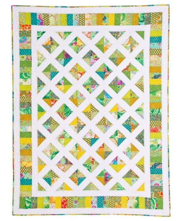 Floral White Trellis Modern Quilt Pattern