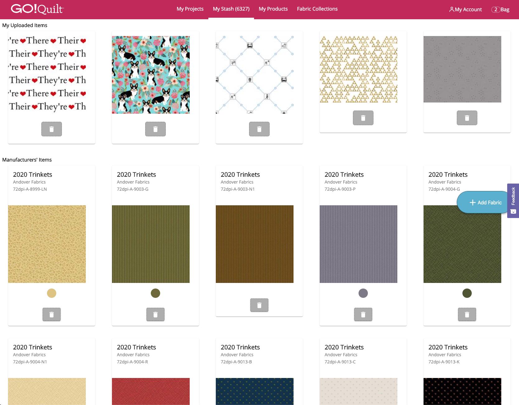 My Stash with Fabrics-Square