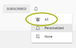 """A screenshot of where quilters can click the """"All"""" section on YouTube's notification system - displayed as a bell."""