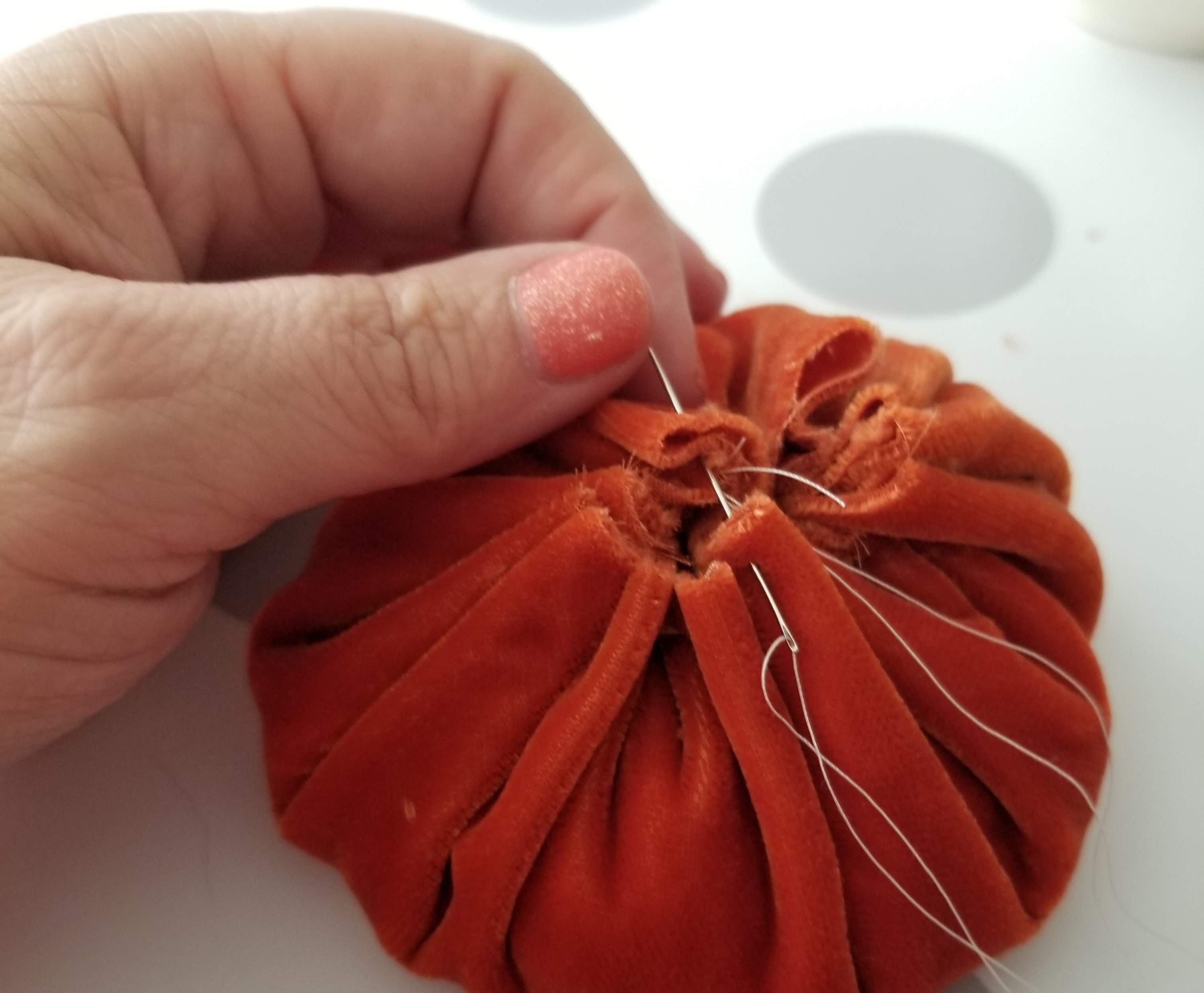 tying off cinch pumpkin handmade home decor