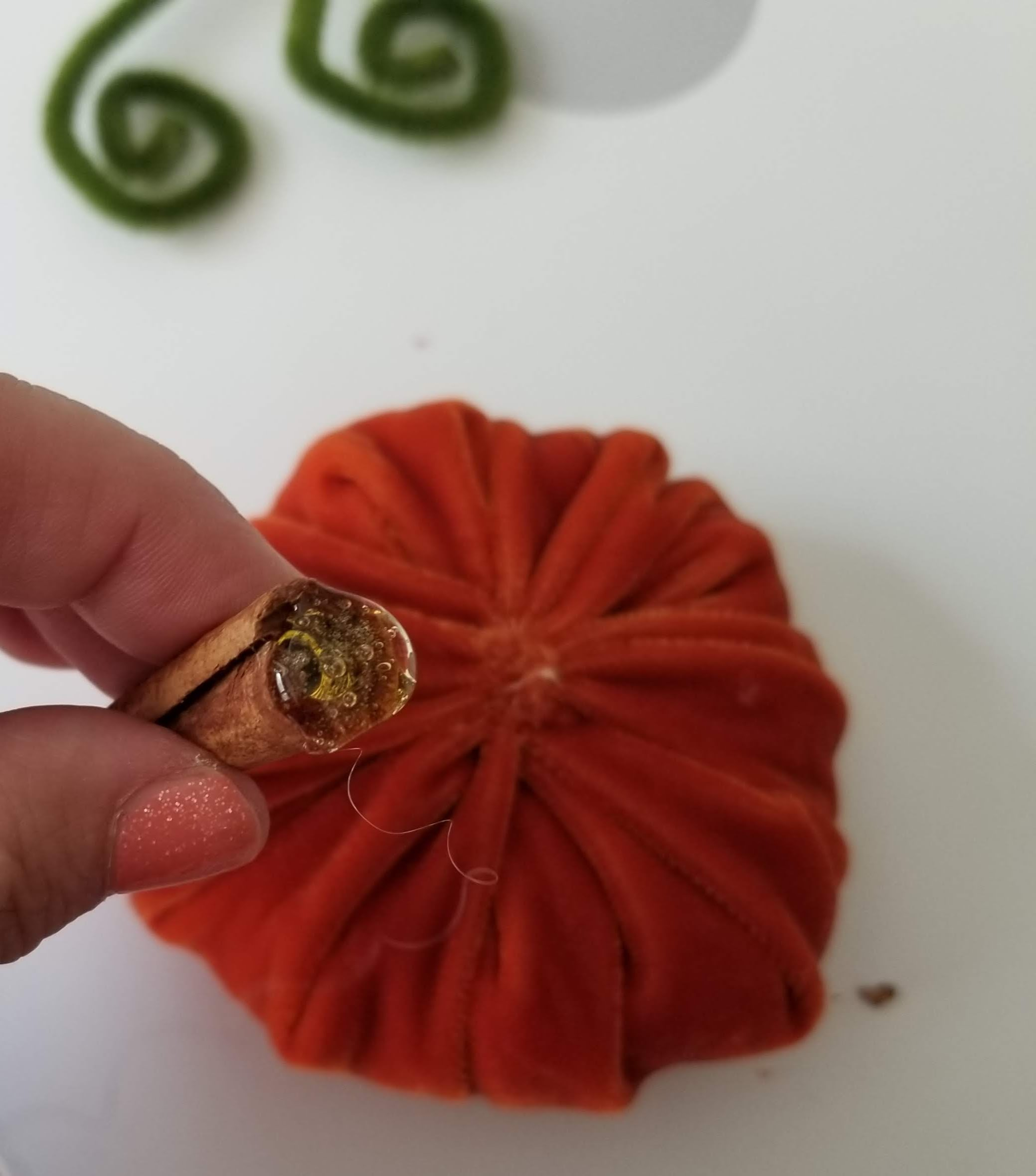 hot glue stem handmade fabric pumpkin