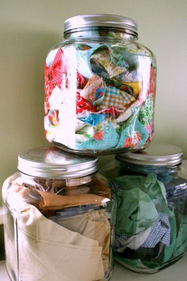 fabric scrap jar