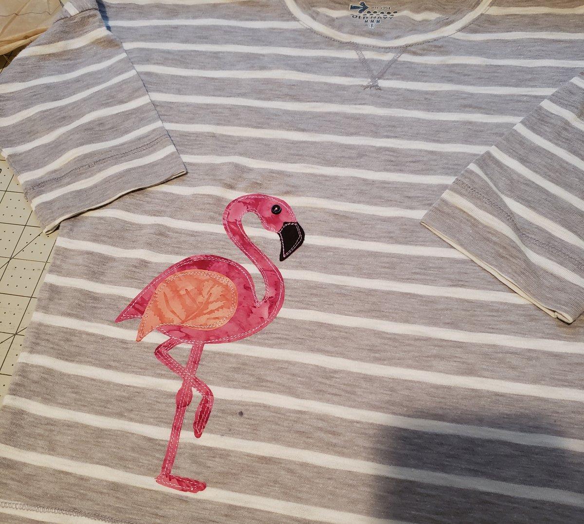 finished flamingo applique