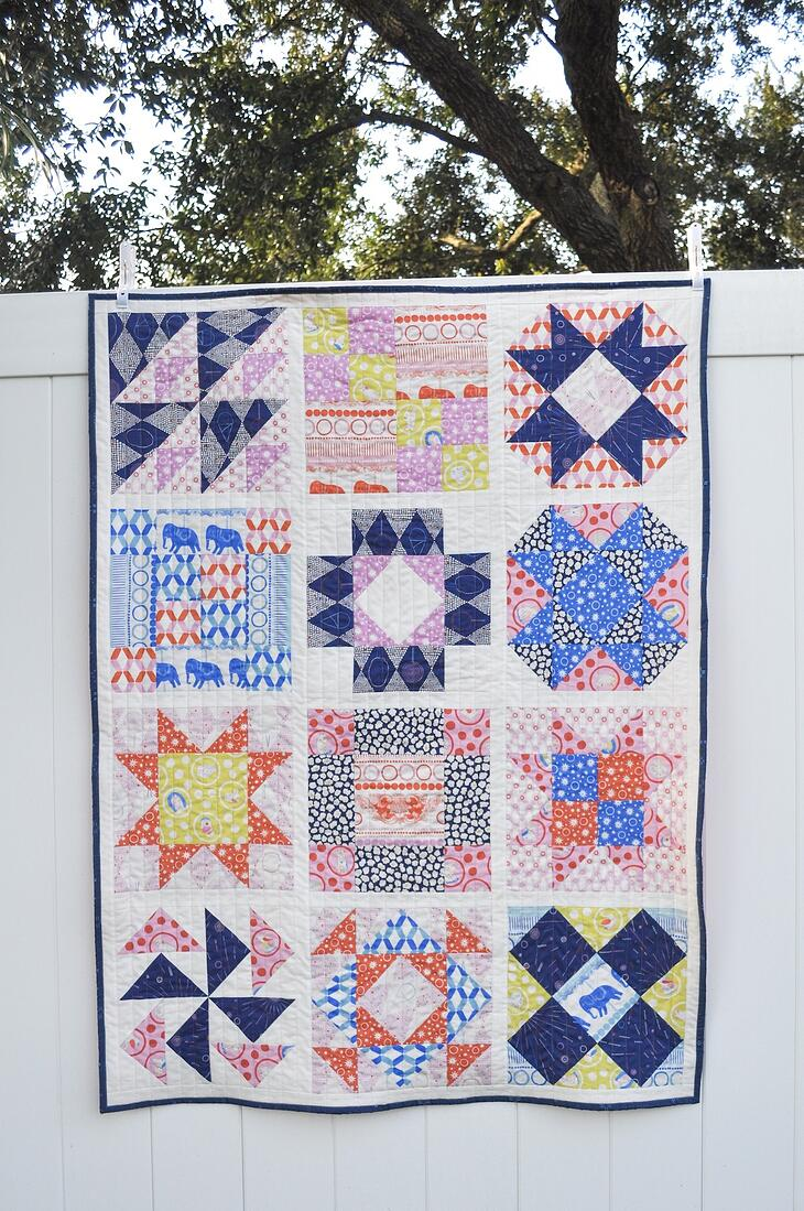 Full view of 12 block sampler quilt made with AccuQuilt GO! Qube 12 inch hung on fence