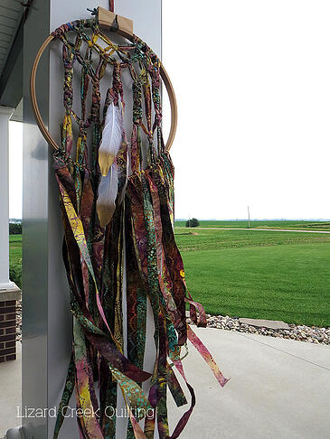 fabric scrap dream catcher green pasture