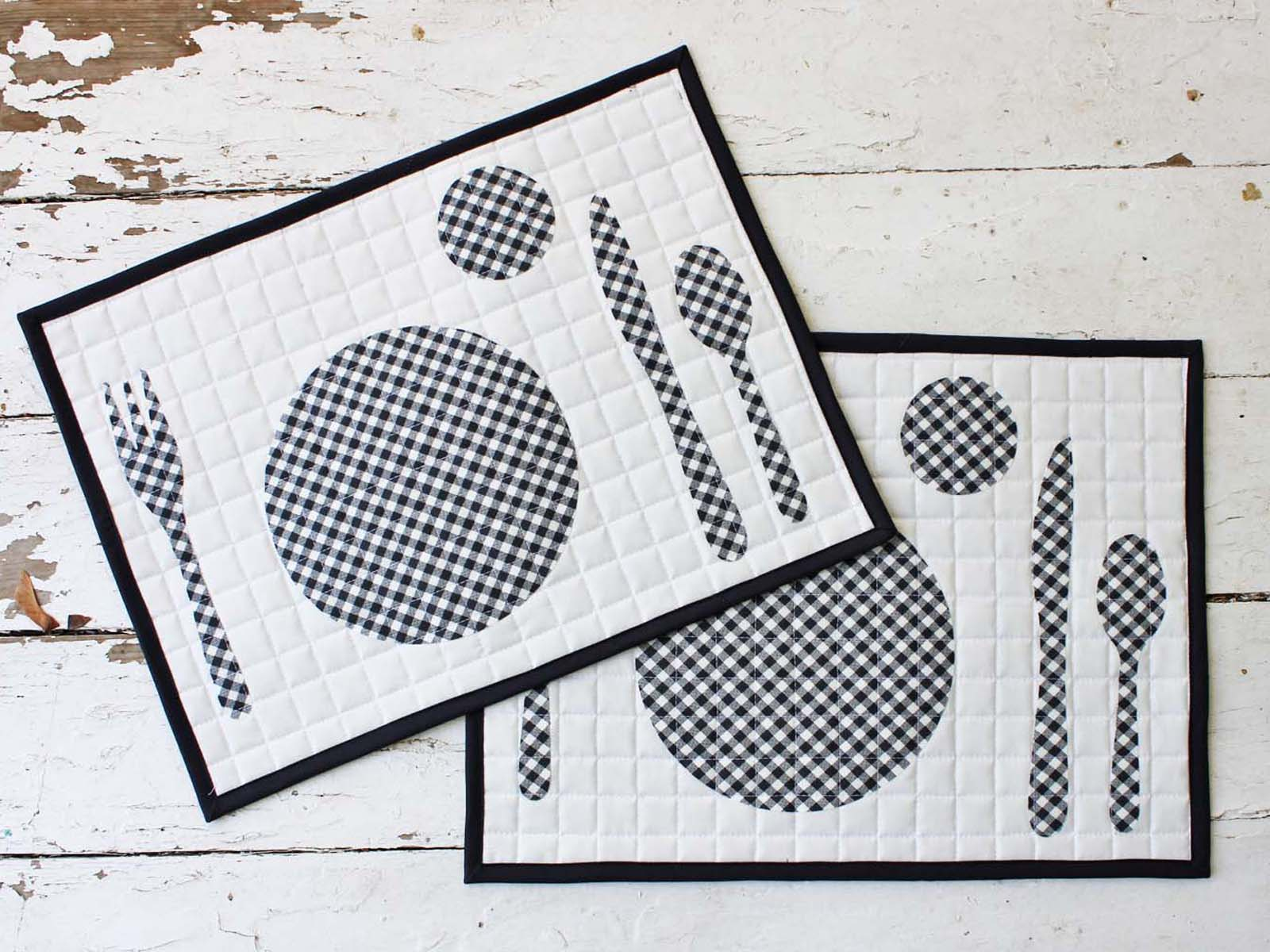 finished black white quilted placemats
