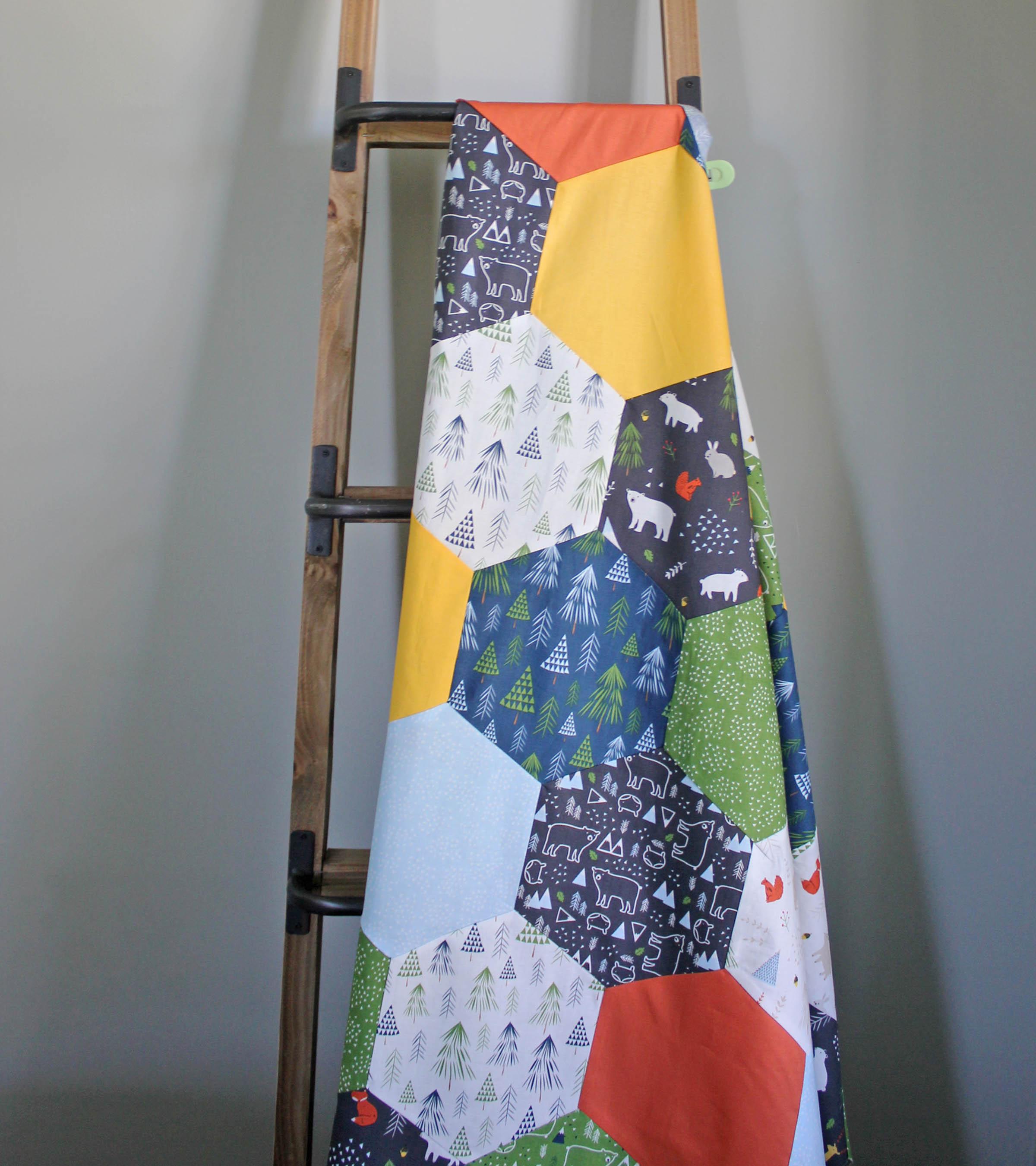 AccuQuilt Hexagon Quilt lifestyle ladder