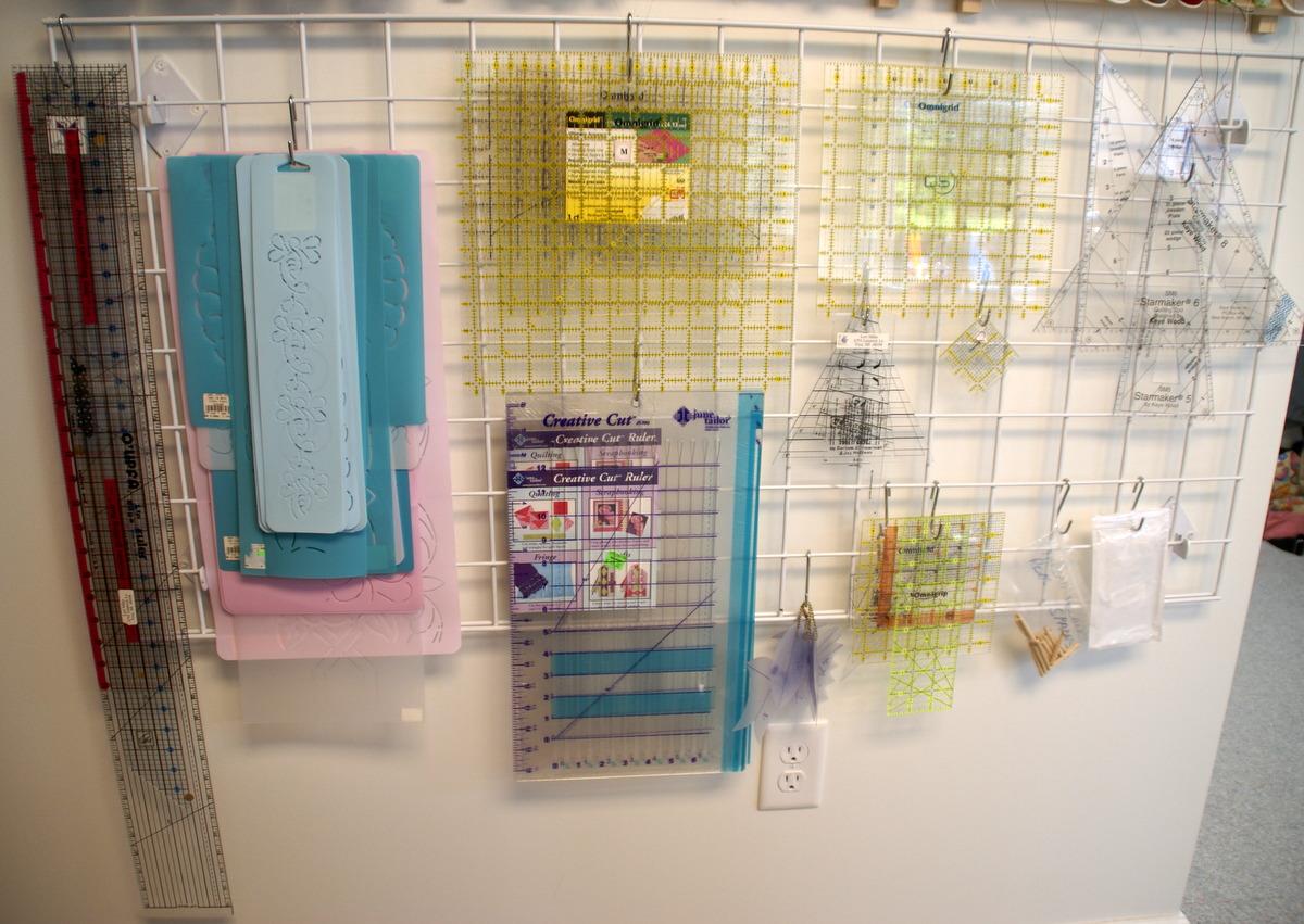 metal grid wall creative quilting ruler storage