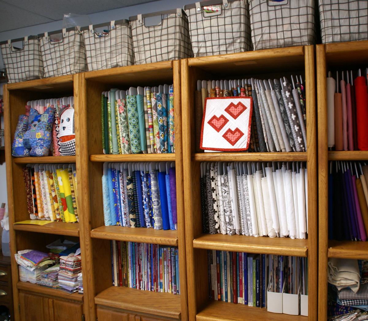 fabric bolt book shelf storage