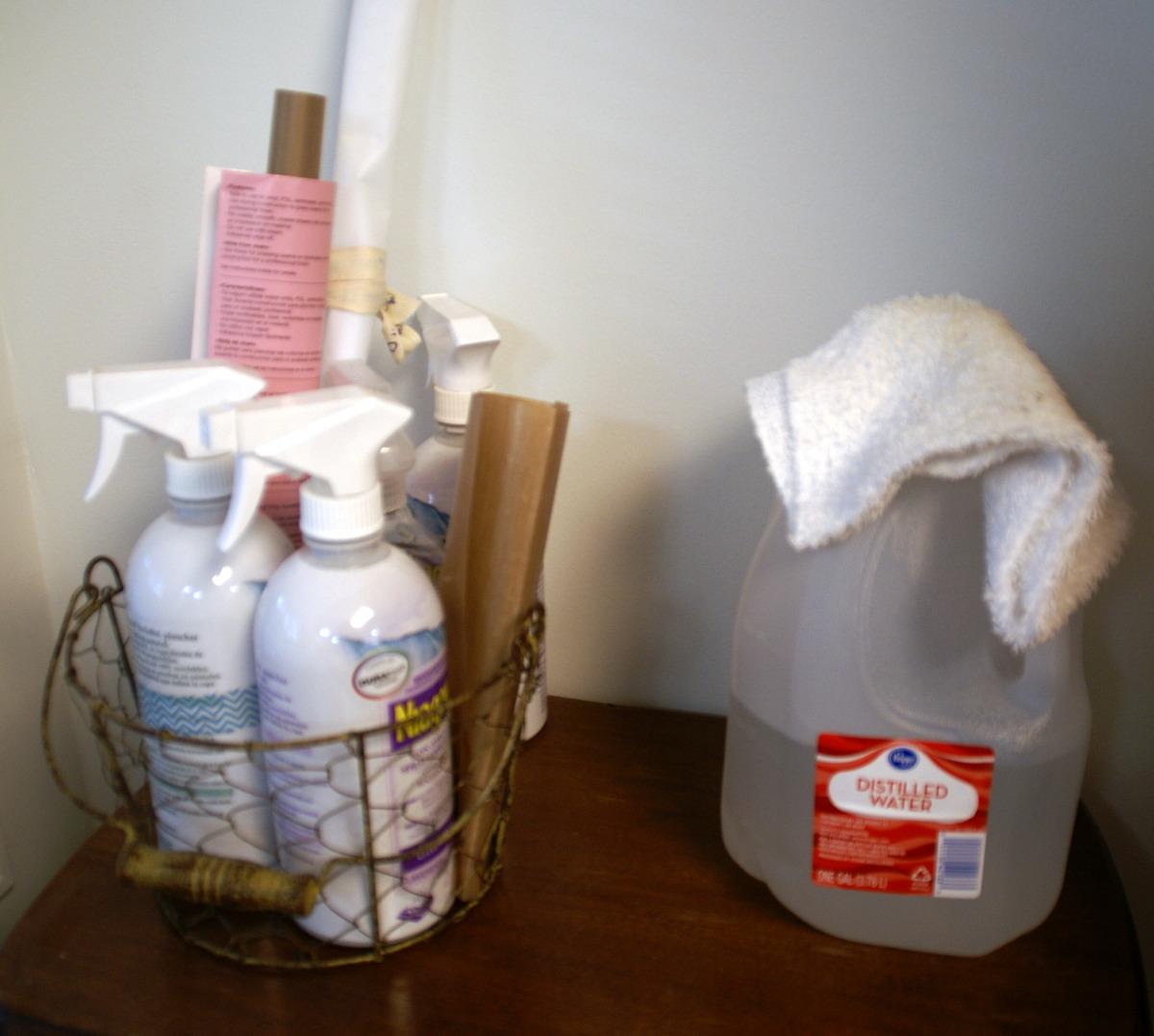 ironing supplies in decorative basket storage