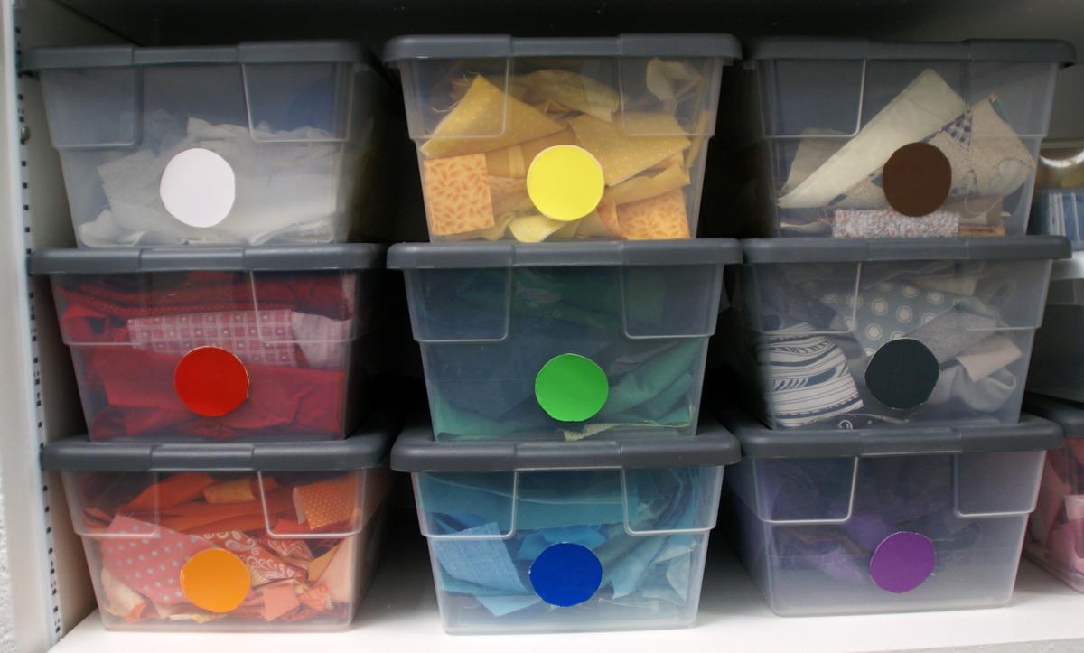 fabric scrap stash organizer plast bins