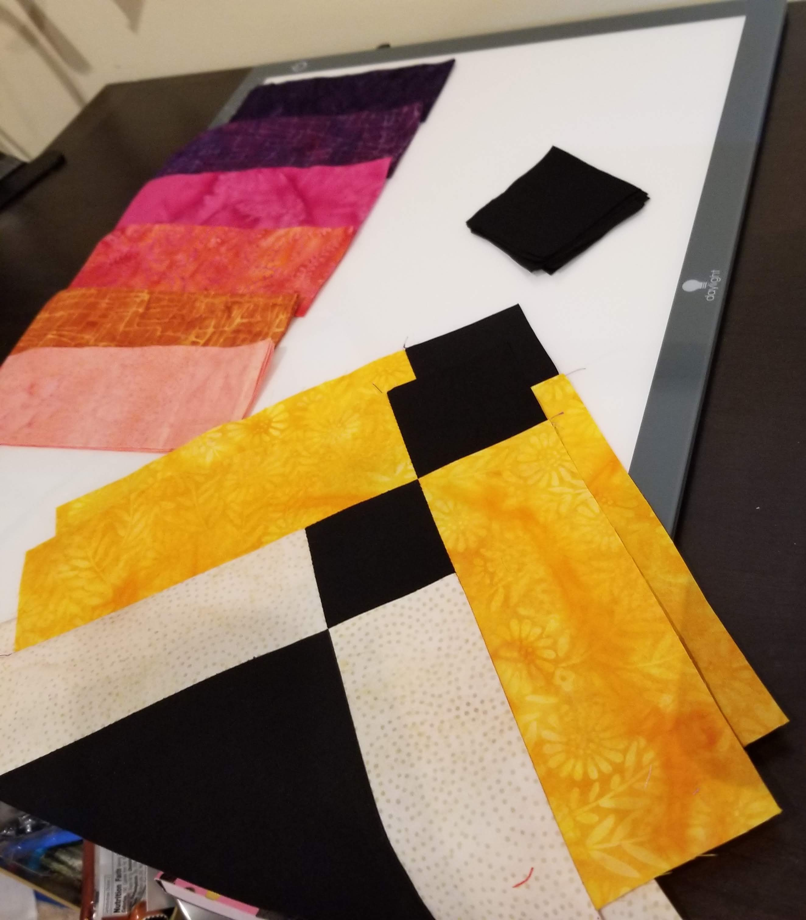 sewn quilt pieces for quilt block