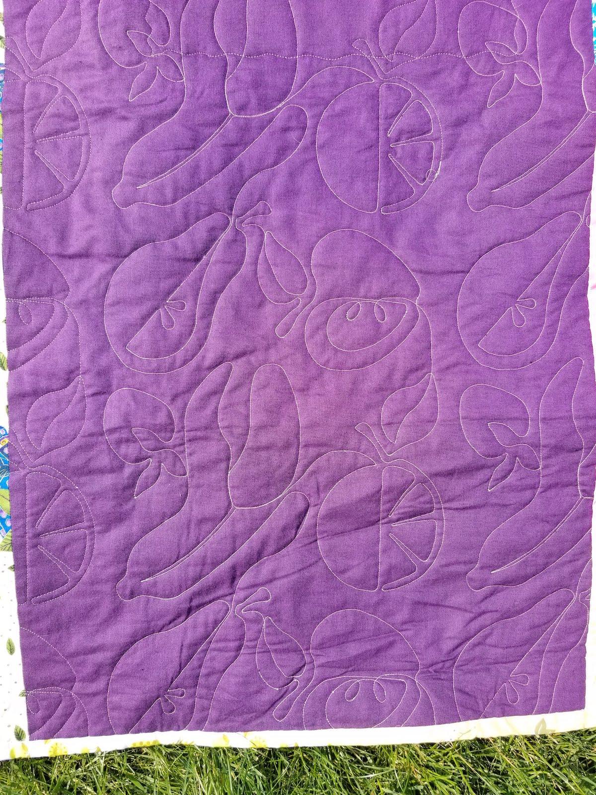 fruit quilting purple fabric