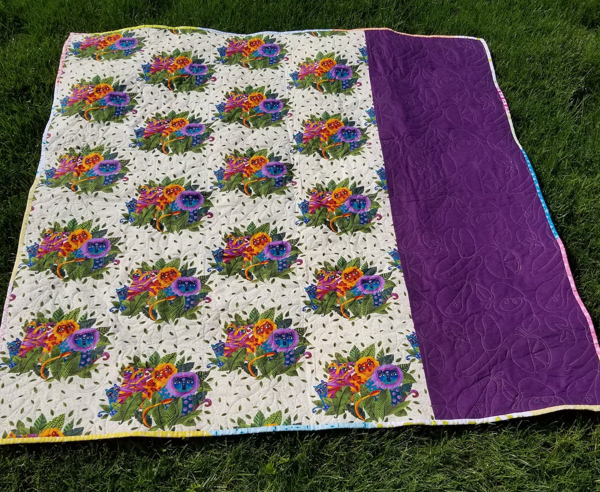 picnic quilt back fruit quilting