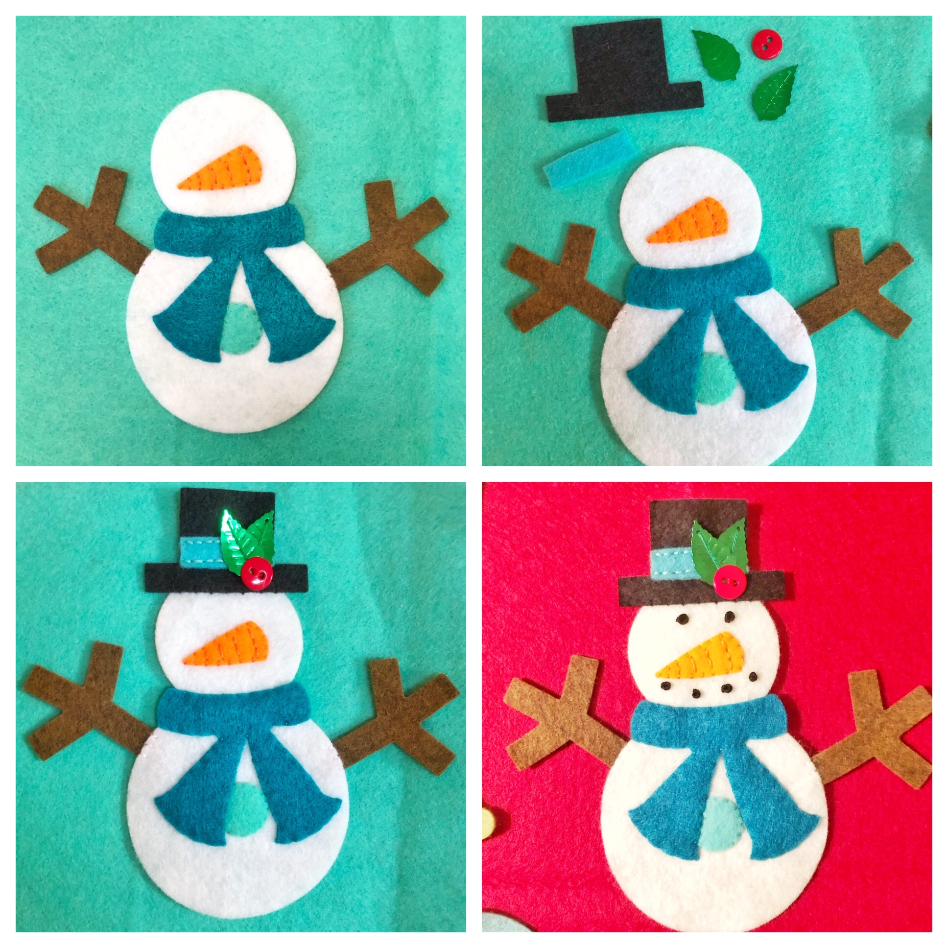 easy snowman applique