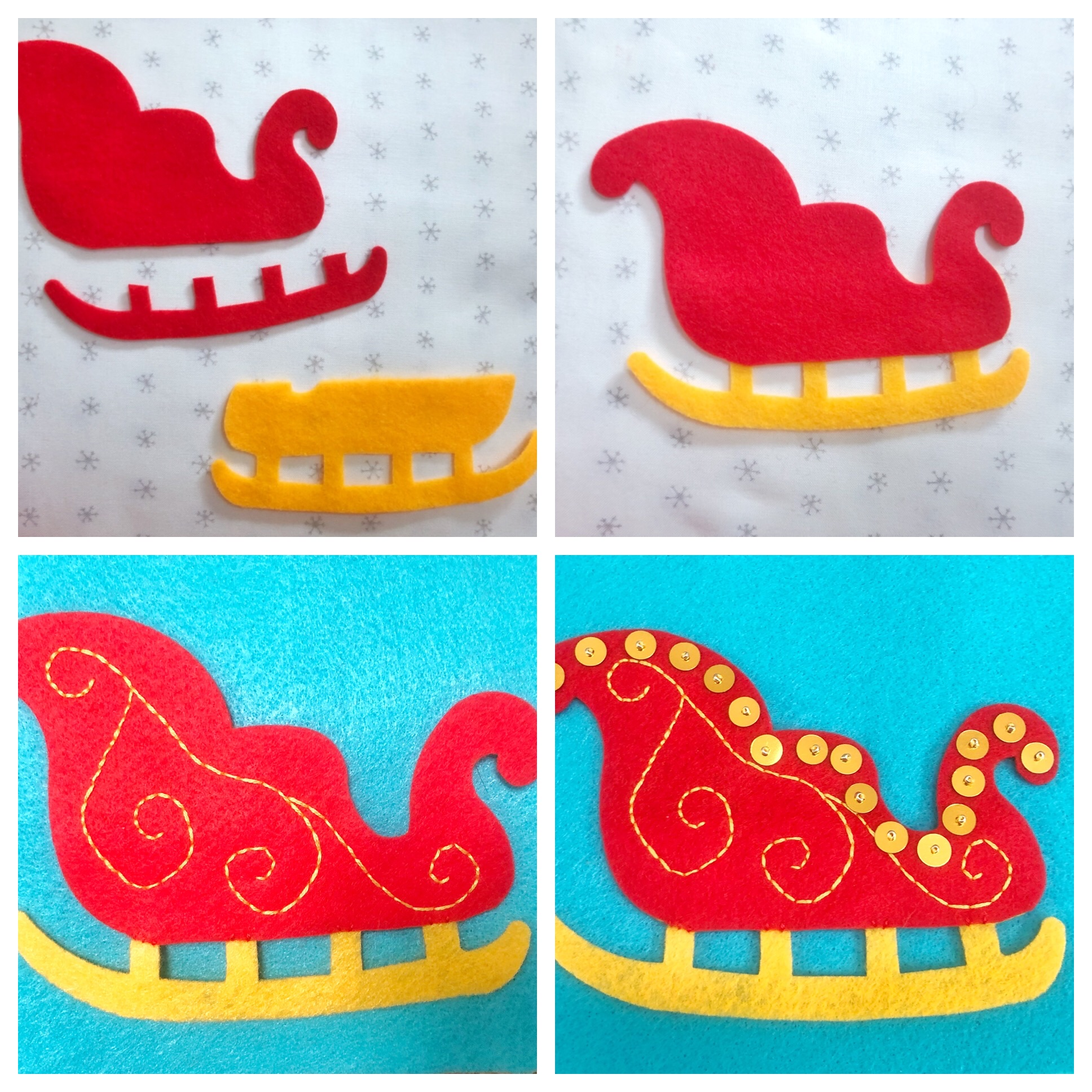 santa's sleigh applique stocking decor