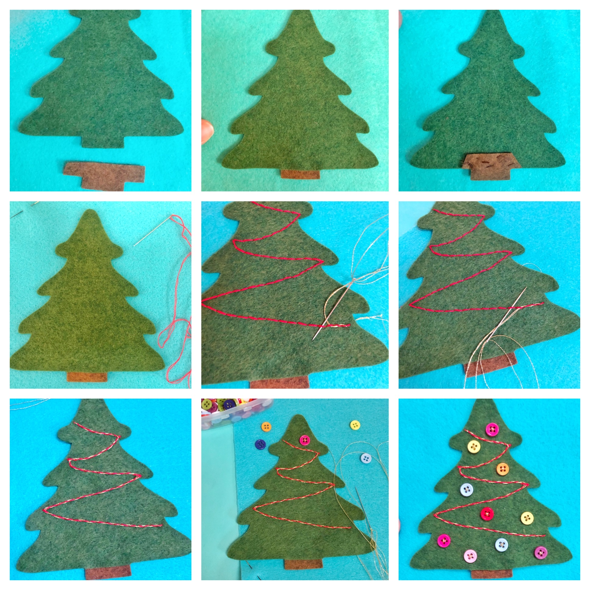 Christmas tree applique handstitched decor