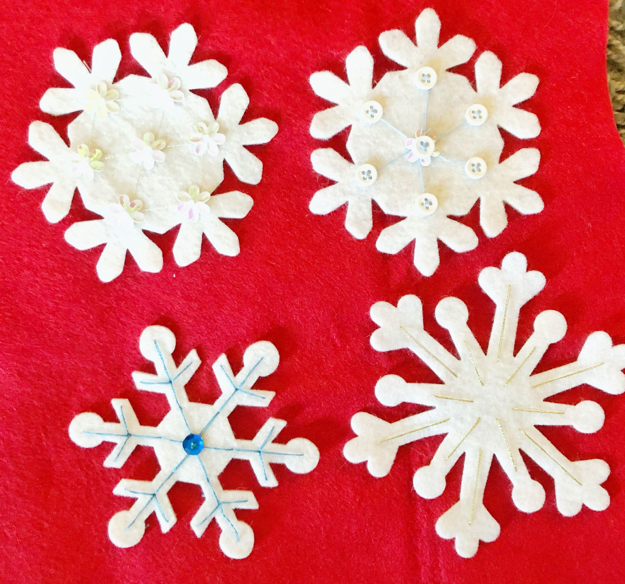 Snowflake applique button embellishments decor