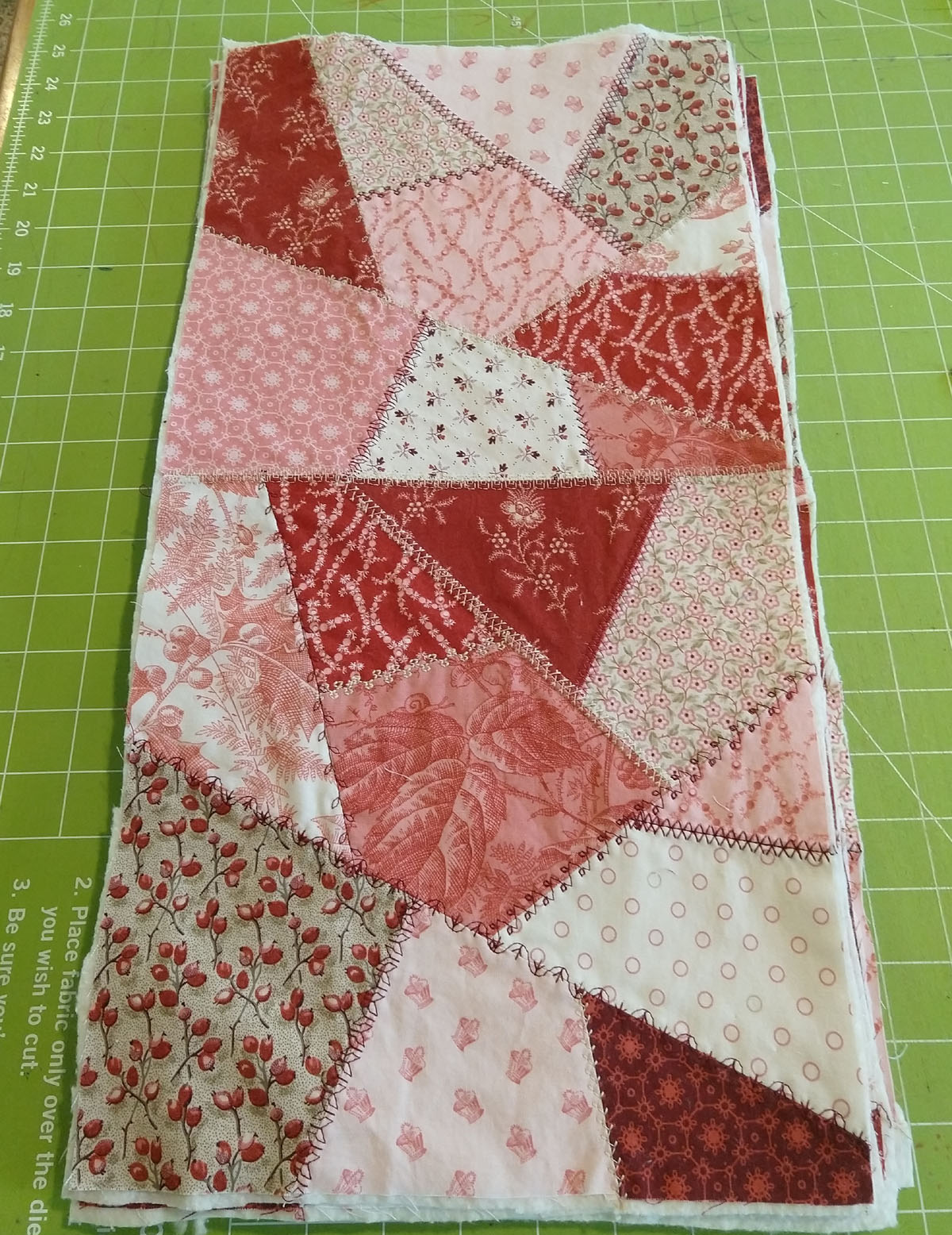 trimmed crazy quilt blocks with batting