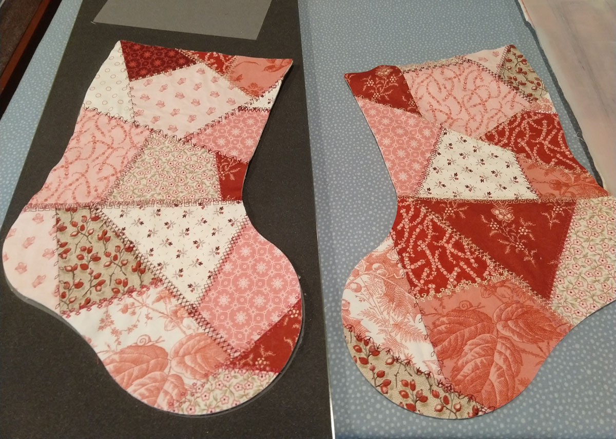 crazy quilt stocking pieces